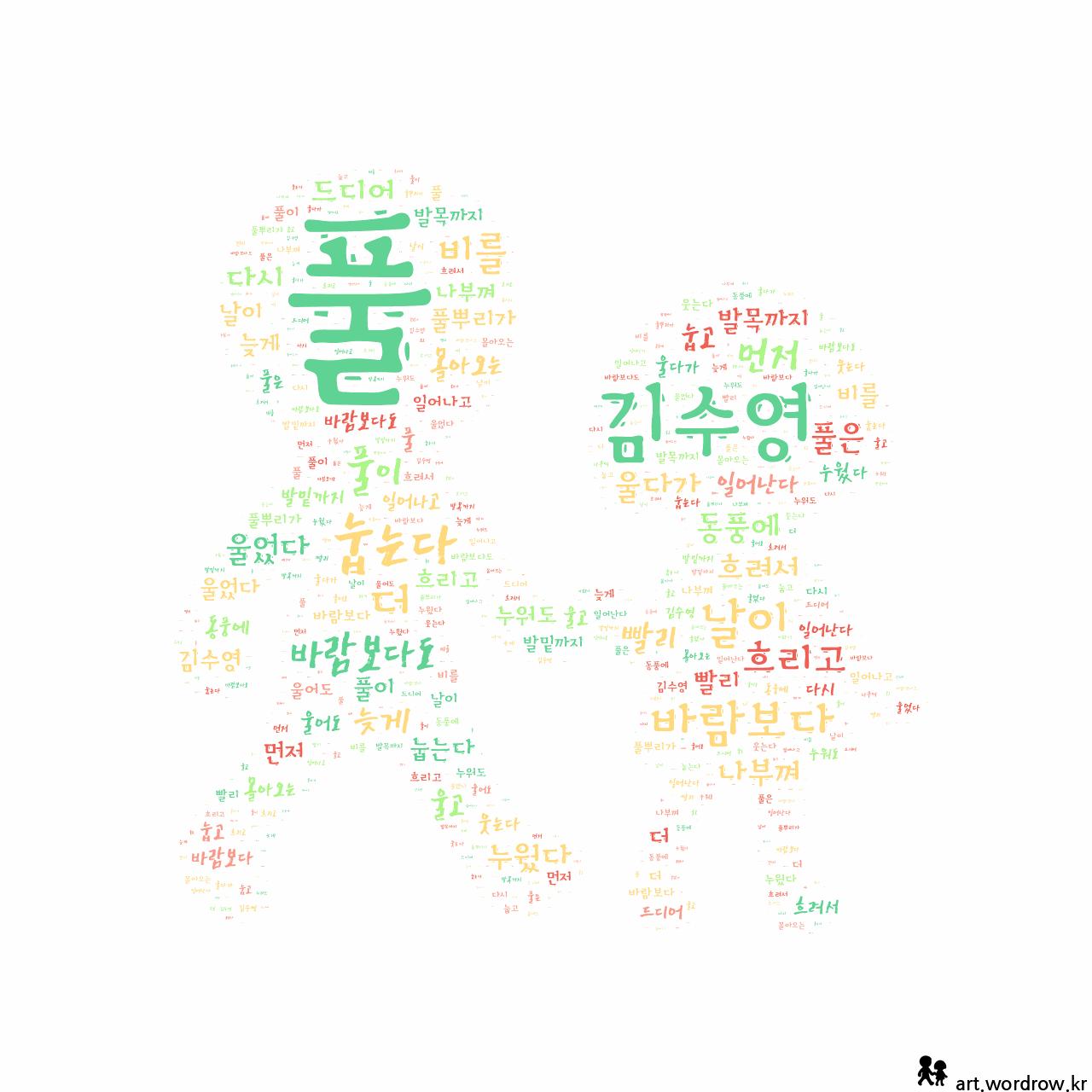 워드 아트: 풀 [김수영]-2
